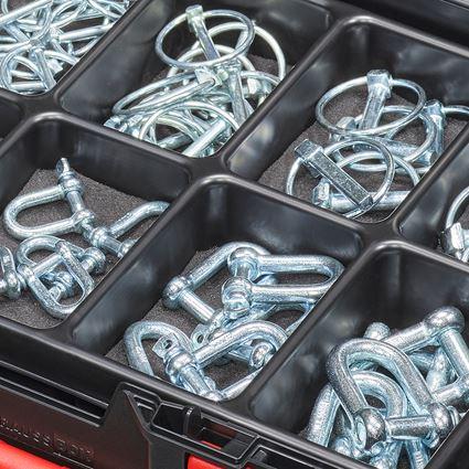 Kleinteile-Sortimente: Klappspinte und Schäkel in STRAUSSbox 118 midi 2