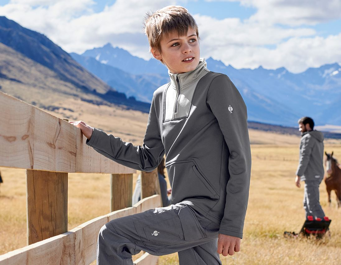 Shirts & Co.: Funkt.-Troyer thermo stretch e.s.concrete, Kinder + anthrazit/perlgrau