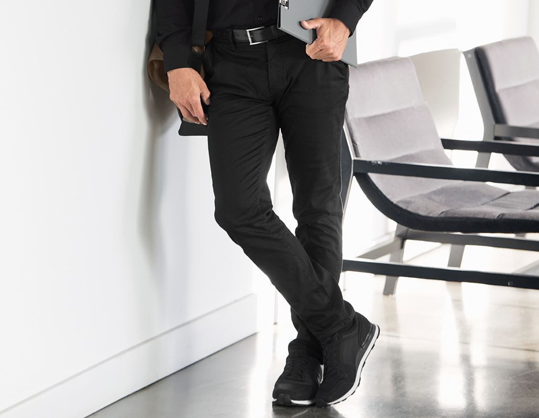 Hosen: e.s. 5-Pocket-Berufshose Chino + schwarz