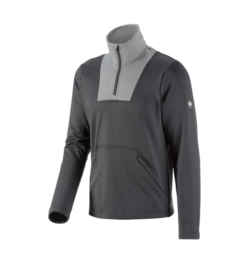 Shirts & Co.: Funktions-Troyer thermo stretch e.s.concrete + anthrazit/perlgrau