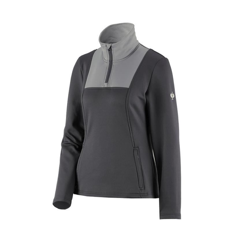 Shirts & Co.: Funktions-Troyer thermo stretch e.s.concrete,Damen + anthrazit/perlgrau
