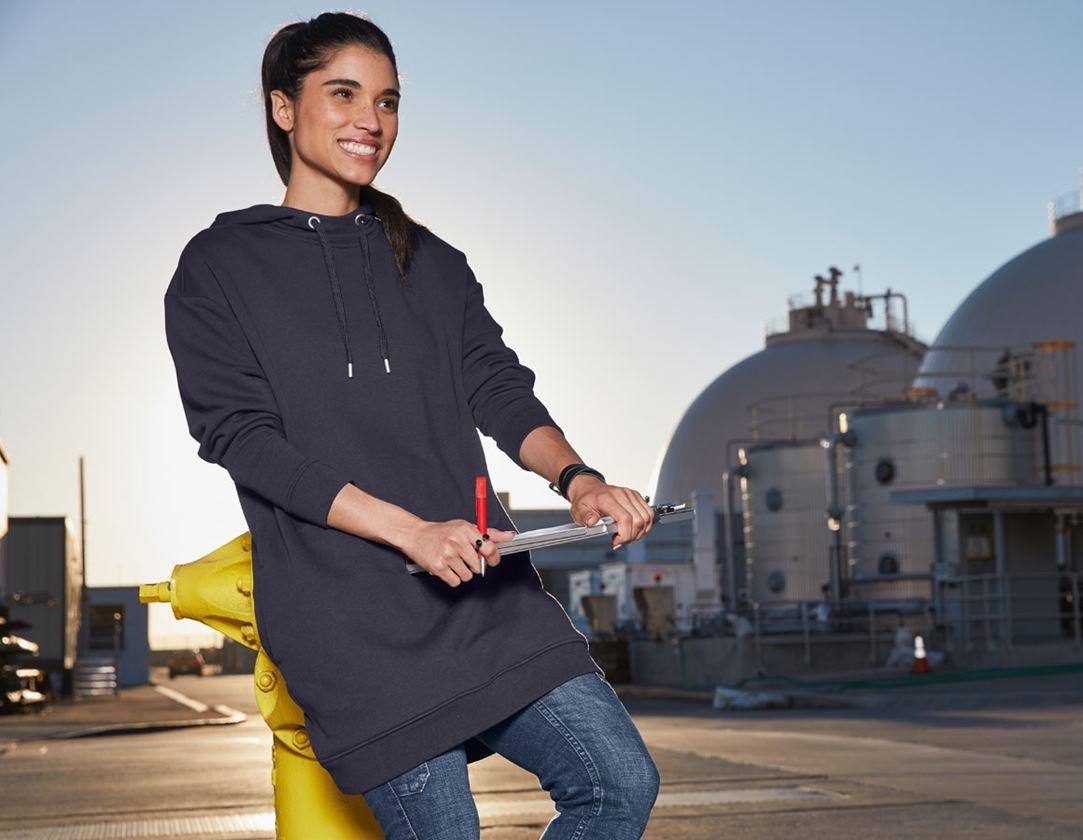 Shirts & Co.: e.s. Oversize Hoody-Sweatshirt poly cotton, Damen + dunkelblau