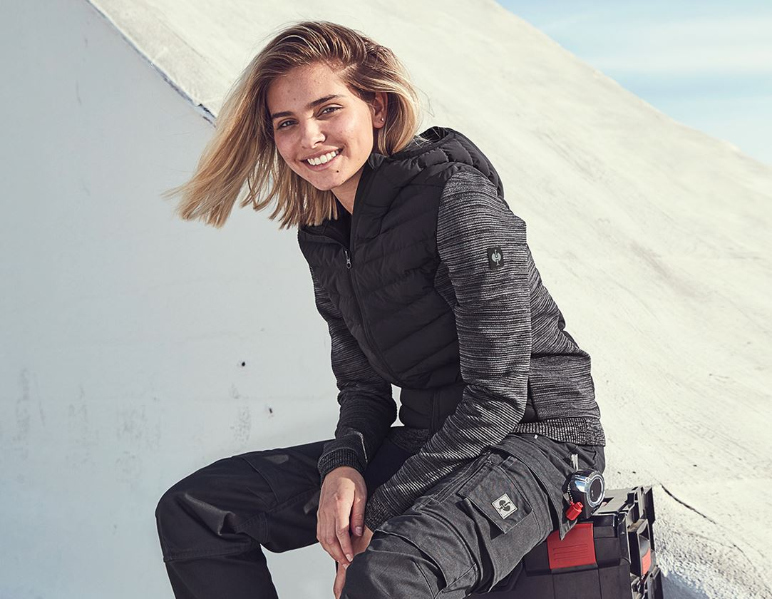 Jacken: Hybrid Kapuzenstrickjacke e.s.motion ten, Damen + oxidschwarz melange