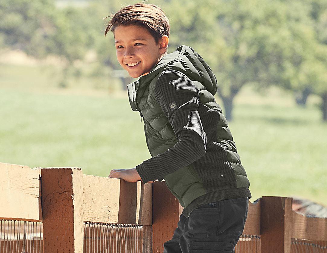 Jacken: Hybrid Kapuzenstrickjacke e.s.motion ten,Kinder + tarngrün melange