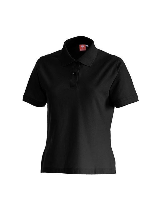 Shirts & Co.: e.s. Polo-Shirt cotton, Damen + schwarz