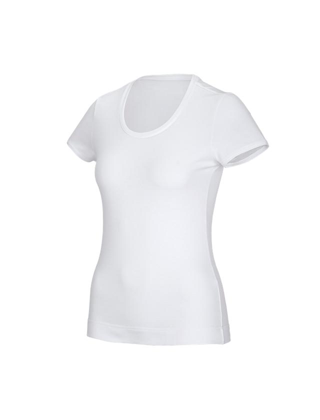 Shirts & Co.: e.s. Funktions T-Shirt poly cotton, Damen + weiß
