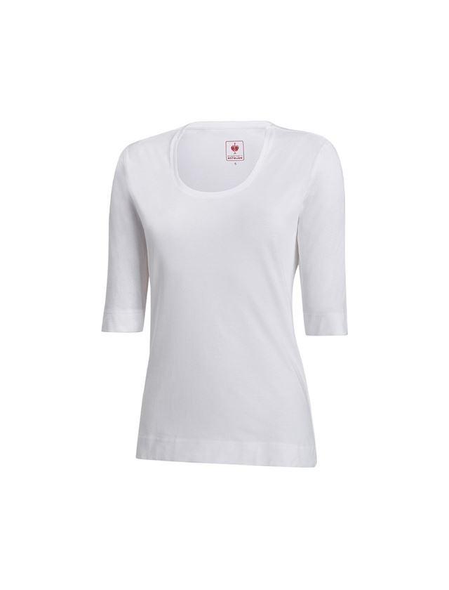 Shirts & Co.: e.s. Shirt 3/4-Arm cotton stretch, Damen + weiß