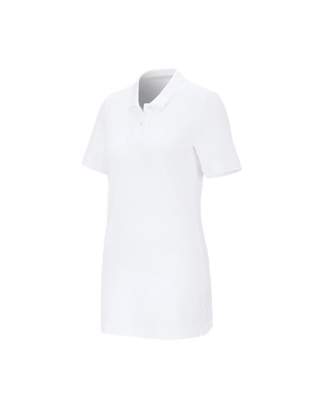 Shirts & Co.: e.s. Piqué-Polo cotton stretch, Damen, long fit + weiß