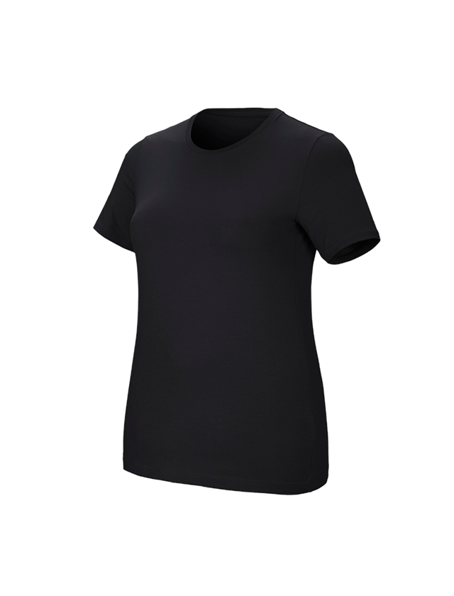 Shirts & Co.: e.s. T-Shirt cotton stretch, Damen, plus fit + schwarz