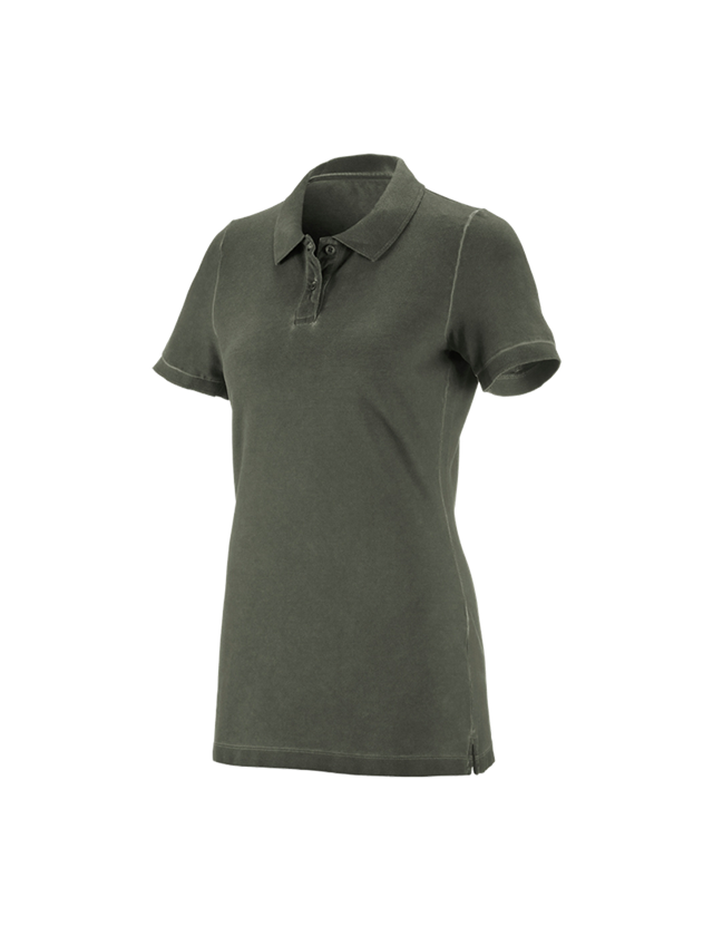 Shirts & Co.: e.s. Polo-Shirt vintage cotton stretch, Damen + tarngrün vintage