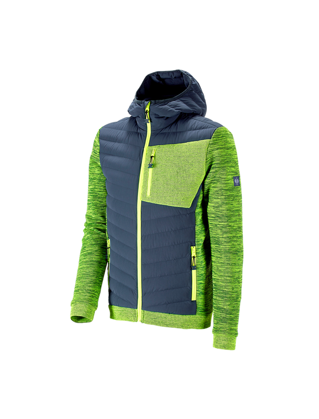 Jacken: Hybrid Kapuzenstrickjacke e.s.motion ten + schieferblau/warngelb melange