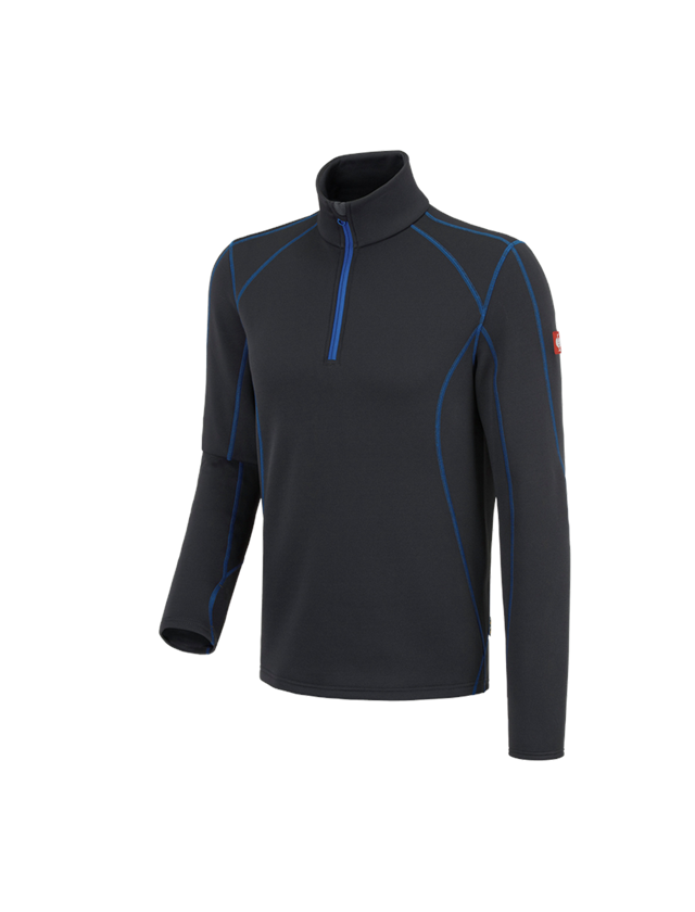 Shirts & Co.: Funkt.-Troyer thermo stretch e.s.motion 2020 + graphit/enzianblau