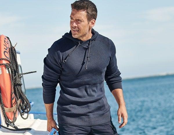 e.s. Pletena majica s kapuco temno modra melanž,964.png | S,za običajne postave