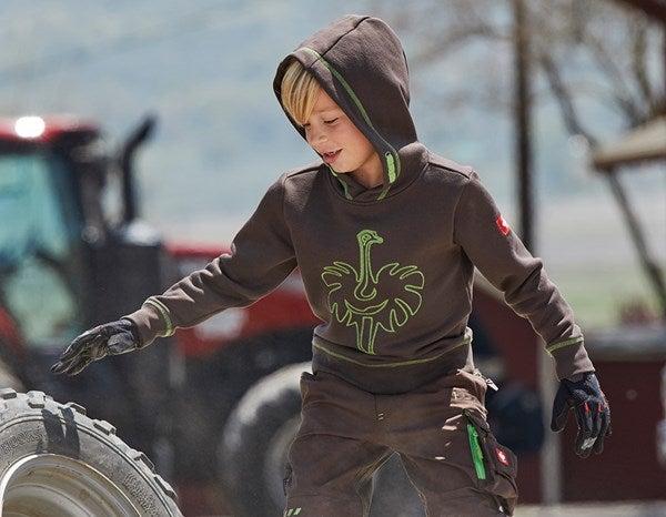 Športna majica s kapuco e.s.motion 2020, otroci kostanj/jezersko zelena,766.png | 98/104,normal