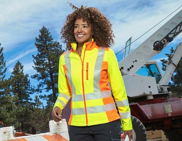 Ženska zaščitna jakna Softsh.softl. e.s.motion2020 opozorilno rumena/opozorilno oranžna,777.png | XS,za običajne postave