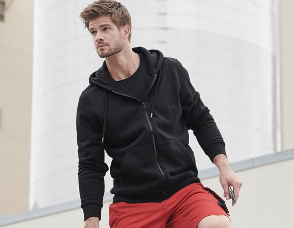 Shirts & Co.: e.s. Hoody-Sweatjacke poly cotton + schwarz