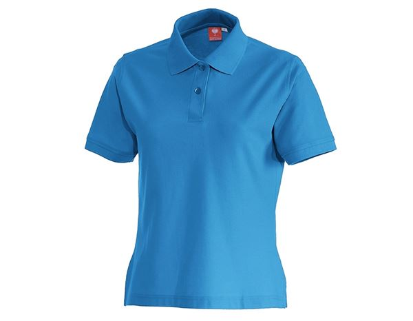 Shirts & Co.: e.s. Polo-Shirt cotton, Damen + azurblau