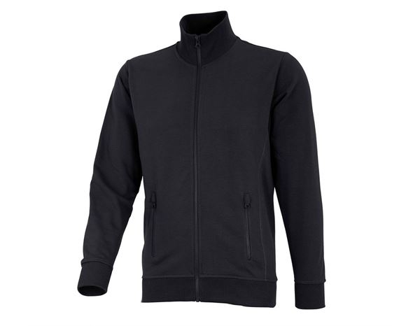 Pullover: e.s. Sweatjacke poly cotton + schwarz
