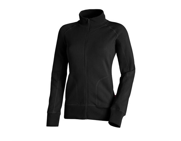 Shirts & Co.: e.s. Sweatjacke poly cotton, Damen + schwarz