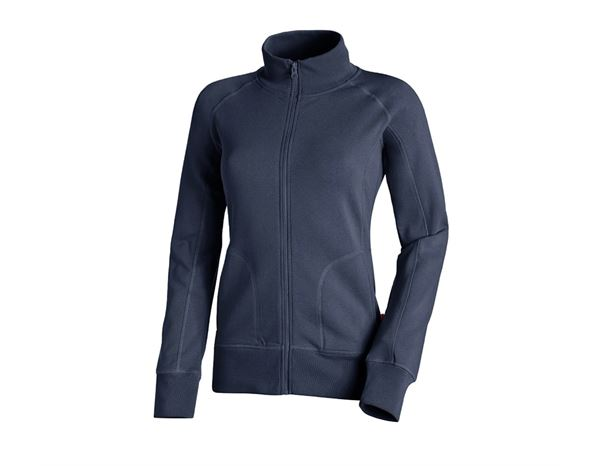 Shirts & Co.: e.s. Sweatjacke poly cotton, Damen + dunkelblau