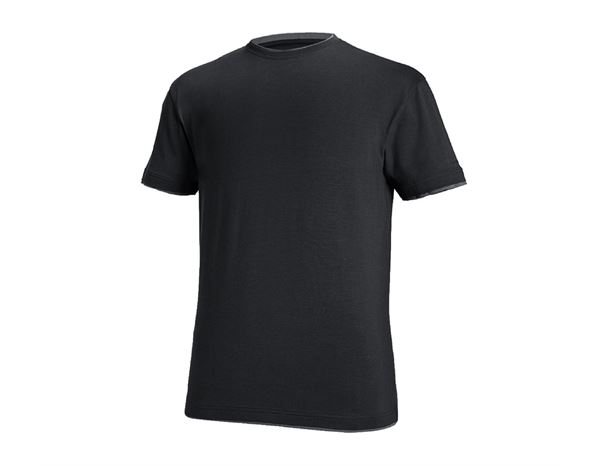 T-Shirts: e.s. T-Shirt cotton stretch Layer + schwarz/zement