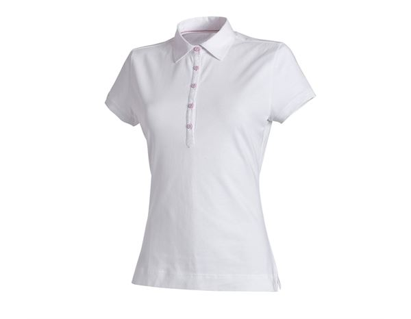 Shirts & Co.: e.s. Polo-Shirt cotton stretch, Damen + weiß