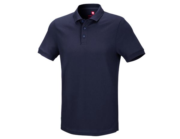 Polo-Shirts: e.s. Piqué-Polo cotton stretch + dunkelblau