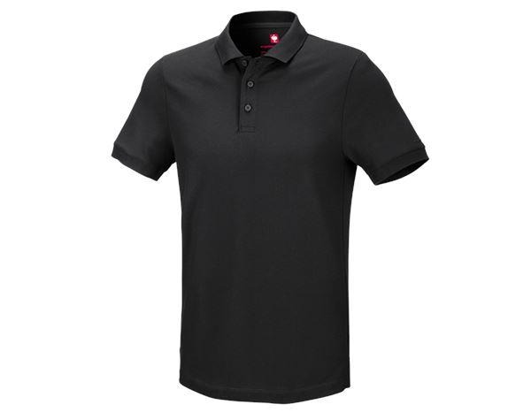 Polo-Shirts: e.s. Piqué-Polo cotton stretch + schwarz