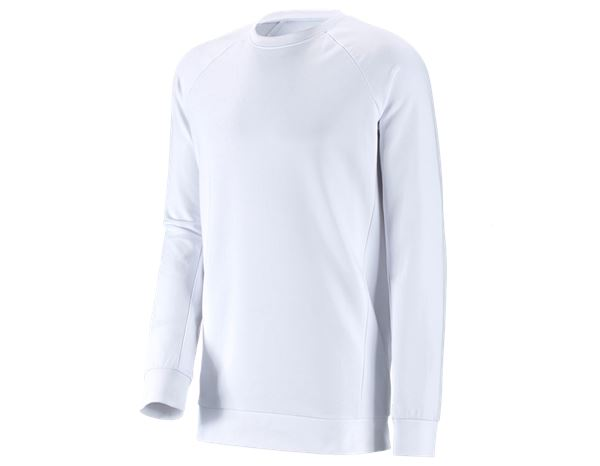 Pullover: e.s. Sweatshirt cotton stretch, long fit + weiß