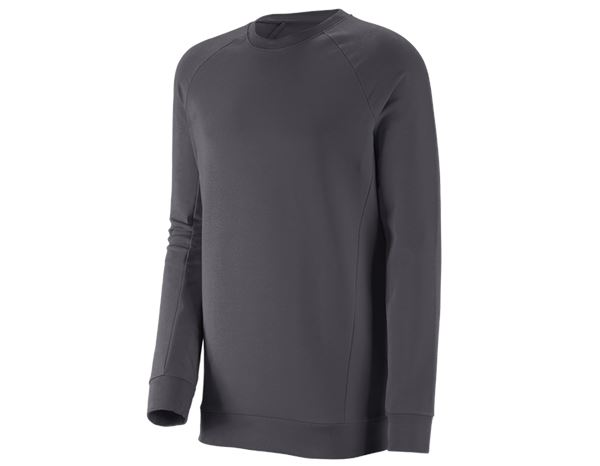 Shirts & Co.: e.s. Sweatshirt cotton stretch, long fit + anthrazit