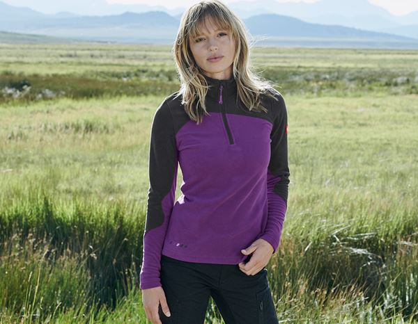 Shirts & Co.: Fleece Troyer e.s.motion 2020, Damen + violett/graphit