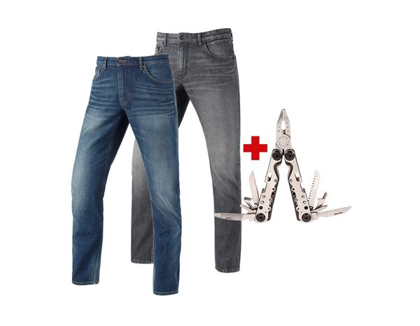 Bekleidung: 2x e.s.5-Pocket Stretch-Jeans straight+Multitool + mediumwashed+graphitewashed
