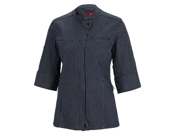 Shirts & Co.: Berufsjacke 3/4-Arm stripe e.s.fusion, Damen + blau/weiß